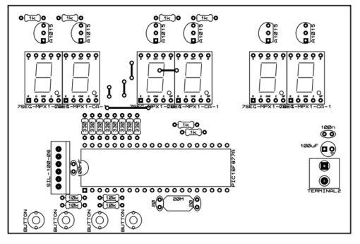 Mạch in sẵn + linh kiện mạch đồng hồ số đơn giản dùng PIC16F877A – LED 7 đoạn LDNam