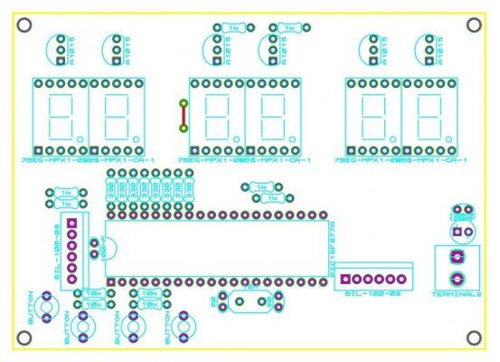 Sơ đồ bố trí linh kiện mạch đồng hồ số đơn giản dùng PIC16F877A LED 7 đoạn LDNam