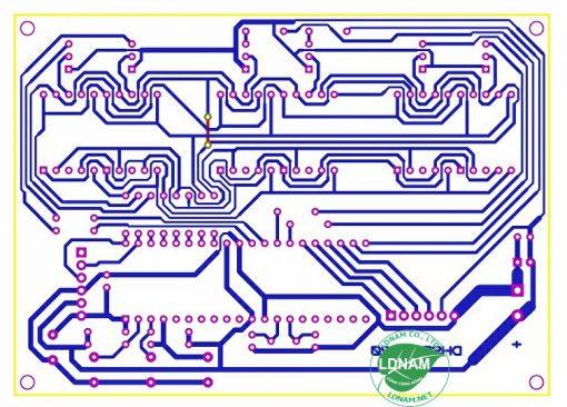 Sơ đồ mạch in mạch đồng hồ số đơn giản dùng PIC16F877A LED 7 đoạn LDNam