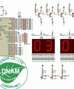 Sơ đồ nguyên lý mạch đồng hồ số đơn giản dùng PIC16F877A LED 7 đoạn LDNam