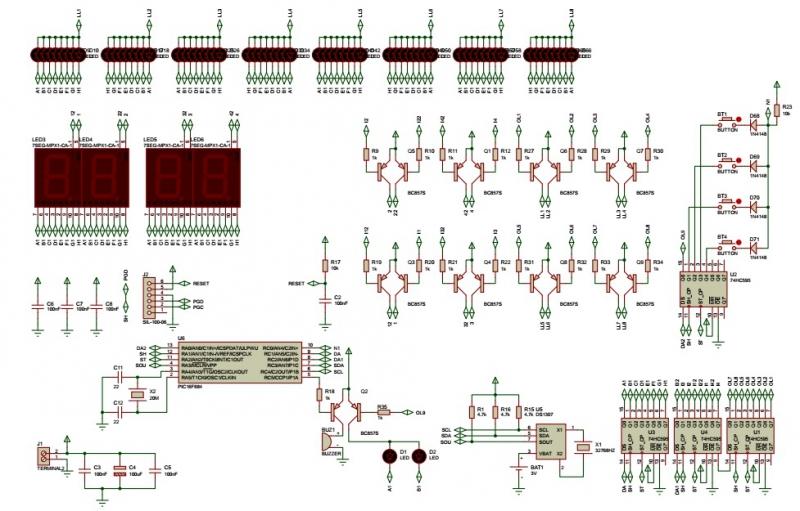 sơ đồ nguyên lí đồng hồ vạn niên tròn LED 7 đoạn PIC16F684 LDNam