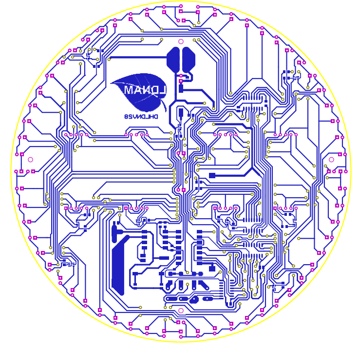 Sơ đồ mạch in của mạch đồng hồ LED 7 đoạn PIC16F684 tròn LDNam
