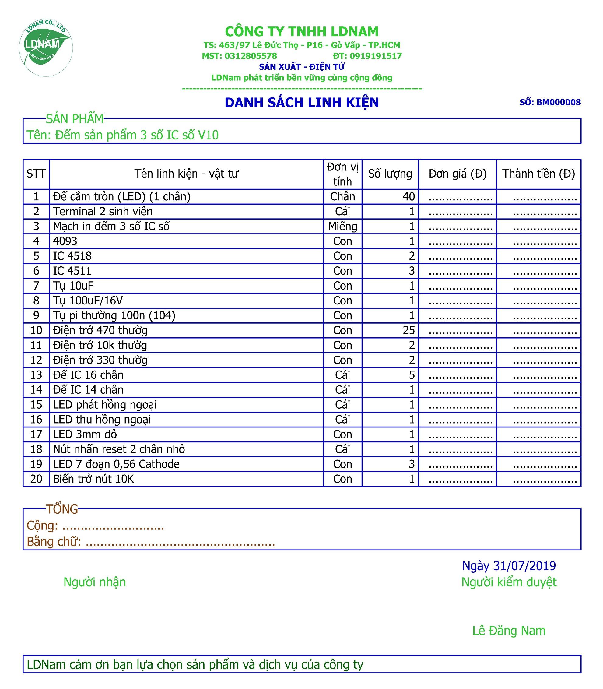 Danh sách linh kiện mạch đếm 3 số IC số - LDNam