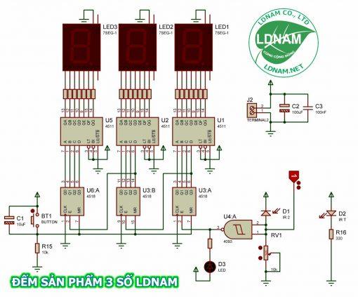 Sơ đồ nguyên lý mạch đếm sản phẩm 3 số IC số LDNam
