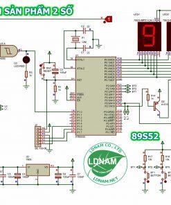 Sơ đồ nguyên lý mạch đếm sản phẩm 2 số 89S52 hiển thị LED 7 đoạn LDNam