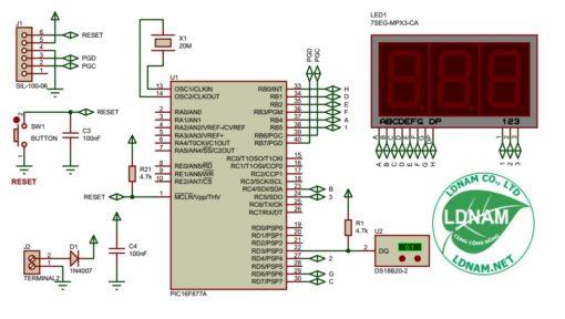 Sơ đồ nguyên lí mạch nhiệt kế điện tử PIC16F877A