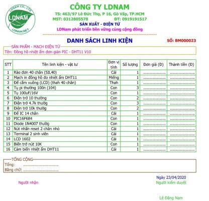 Danh sách linh kiện mạch in đồng hồ đo nhiệt độ độ ẩm hiển thị LCD sử dụng PIC16F628, DHT11 LDNam