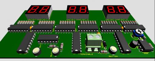 Mạch 3D đồng hồ số ic số hiển thị giờ phút giây lên LED 7 đoạn LDNam