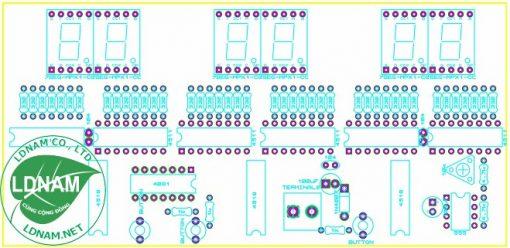 Sơ đồ bố tri linh kiện mạch đồng hồ số ic số hiển thị giờ phút giây lên LED 7 đoạn LDNam
