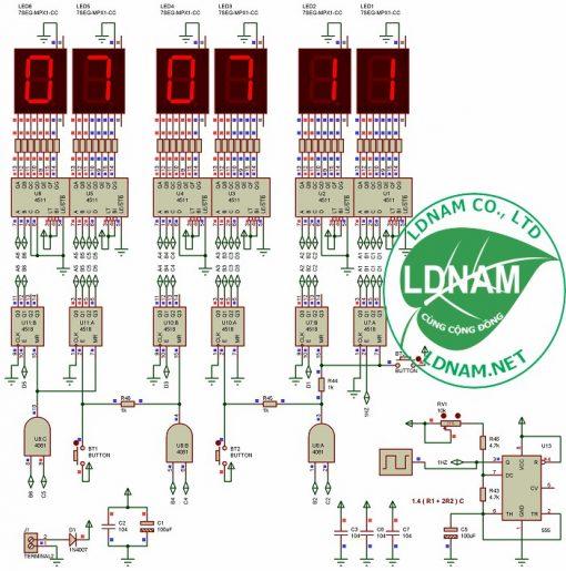Sơ đồ nguyên lý mạch đồng hồ số ic số hiển thị giờ phút giây lên LED 7 đoạn LDNam