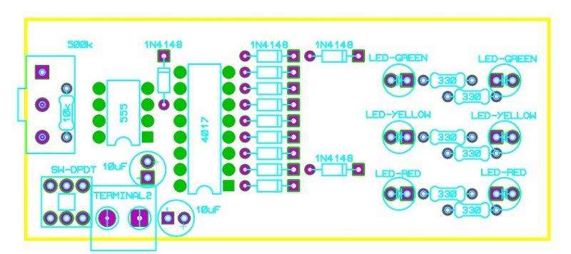 Sơ đồ bố trí linh kiện mạch đèn giao thông đơn giản LDNam