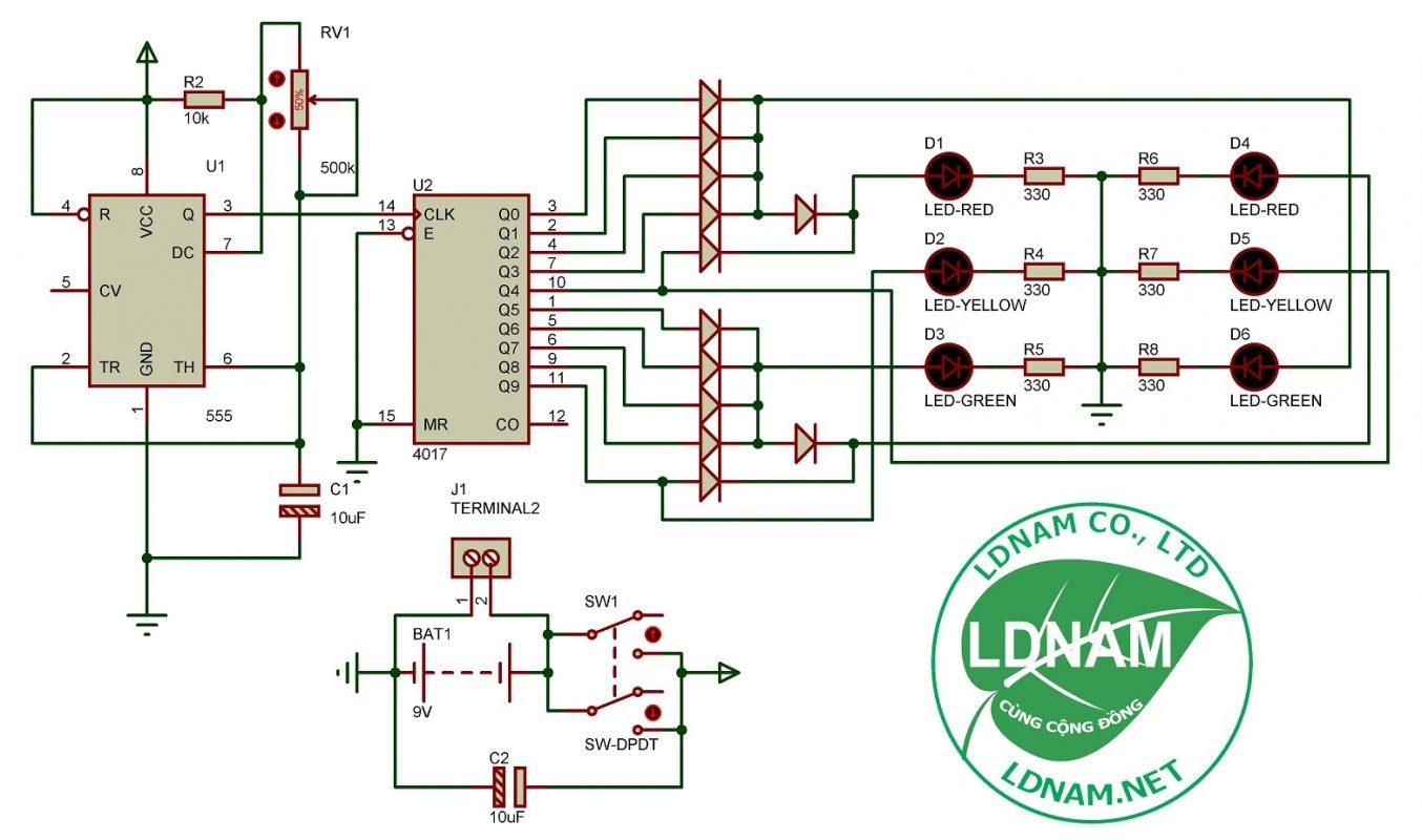 Sơ đồ nguyên lý mạch đèn giao thông ngã tư đơn giản LDNam