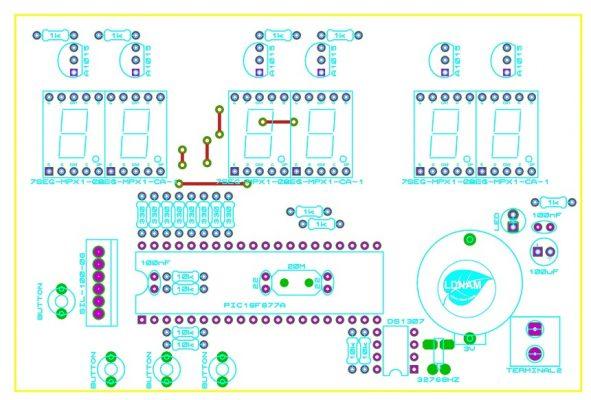 Sơ đồ bố trí linh kiện mạch đồng hồ RTC PIC16F877A LDNam LED 7 đoạn