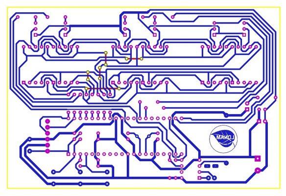 Sơ đồ mạch in mạch đồng hồ RTC PIC16F877A LDNam LED 7 đoạn