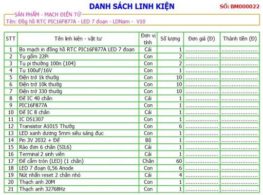 Danh sách linh kiện mạch đồng hồ RTC PIC16F877A LDNam LED 7 đoạn
