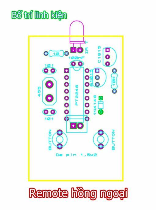 Sơ đồ bố trí linh kiện - remote hồng ngoại 2 nút nhấn PT2262