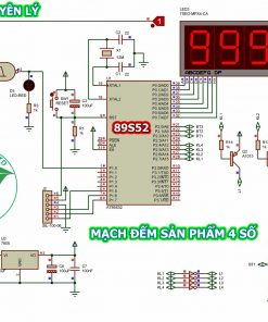 Sơ đồ nguyên lý mạch đếm sản phẩm 4 số dùng 89S52 hiển thị 4 LED 7 đoạn LDNam