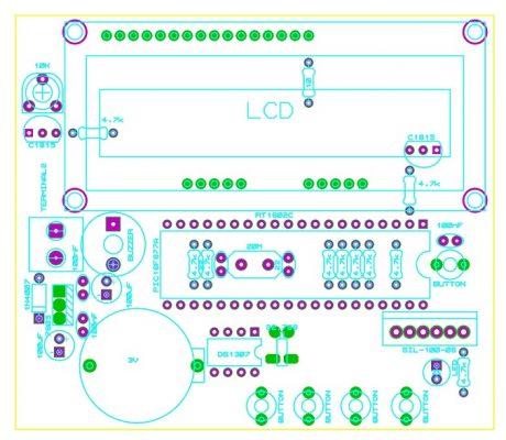 Sơ đồ bố trí linh kiện của mạch đồng hồ số hiển thị LCD PIC LDNam