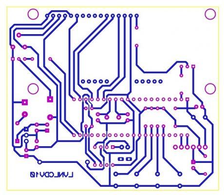 Sơ đồ mạch in của mạch đồng hồ số thời gian thực hiển thị LCD PIC16F877A LDNam