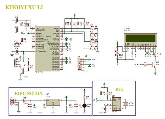Sơ đồ nguyên lý của mạch đồng hồ số thời gian thực hiển thị LCD PIC16F877A LDNam