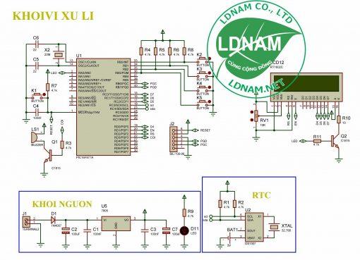Sơ đồ nguyên lý mạch lịch vạn niên LCD thời gian thực PIC16F877A LDNam