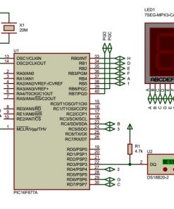 Sơ đồ nguyên lý mạch đo nhiệt độ sử dụng PIC16F877A cảm biến nhiệt độ DS18B20 hiển thị lên 3 LED 7 đoạn LDNam