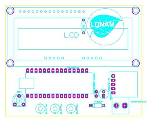 Sơ đồ bố trí linh kiện mạch đồng hồ thời gian thực ARDUINO hiển thị LCD LDNam