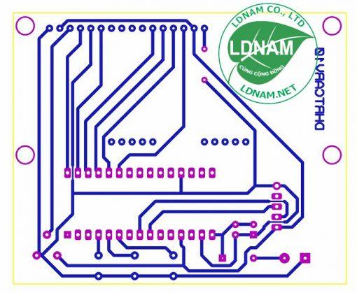 Sơ đồ mạch in mạch đồng hồ thời gian thực ARDUINO hiển thị LCD LDNam