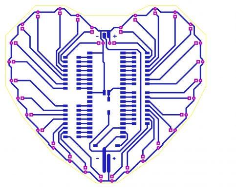 Sơ đồ mạch in mạch led trái tim đơn giản LDNam