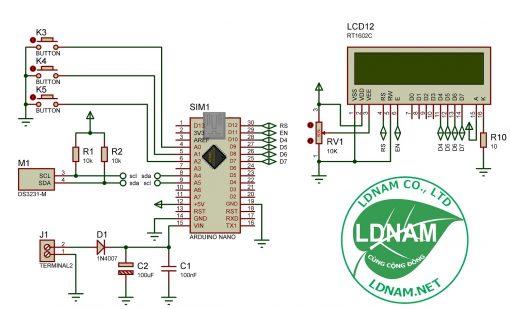 Sơ đồ nguyên lý mạch đồng hồ thời gian thực ARDUINO hiển thị LCD LDNam