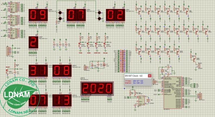 File mô phỏng sơ đồ nguyên lý của mạch lịch vạn niên LED 7 đoạn PIC LDNam