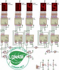 Sơ đồ nguyên lý mạch đồng hồ IC số LED 7 đoạn anode chung LDNam