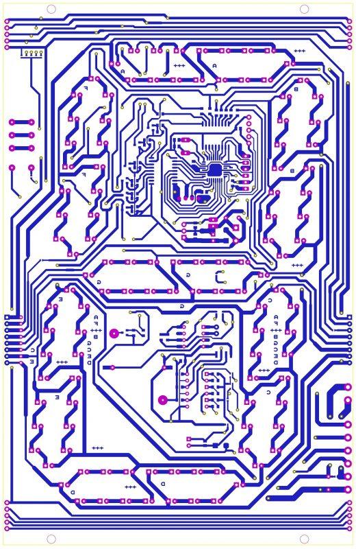 Mạch in của hiển thị giờ phút len LED 7 đoạn số lớn LDNam
