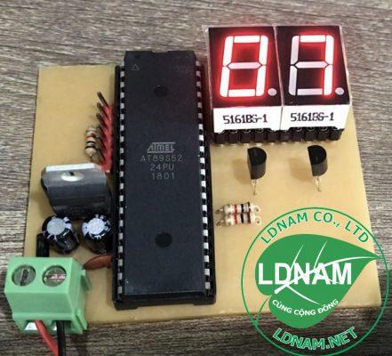 Mạch đếm tự động 89S52 lên 2 LED 7 đoạn đơn giản LDNam