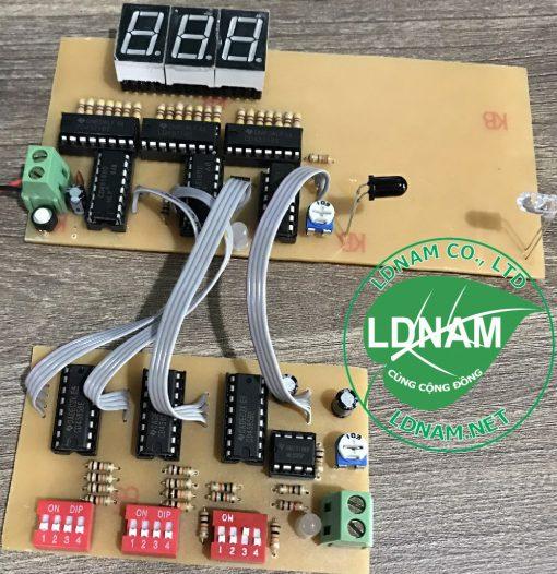 Mạch đếm sản phẩm 3 số cài đặt được dùng DIP bằng IC số LDNam