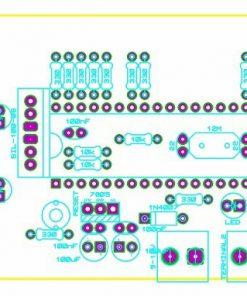 Sơ đồ bố trí linh kiện mạch đếm sản phẩm 2 số vào ra 1 cổng dùng PIC16F877A LED 7 đoạn LDNam