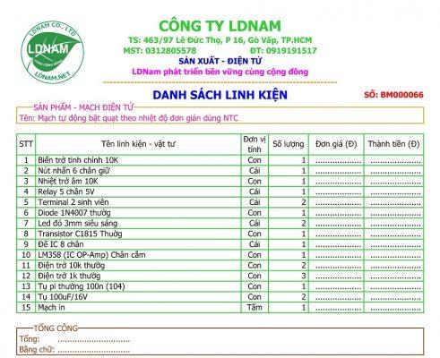 Danh sách linh kiện mạch bật quạt tự động theo nhiệt độ LDNam