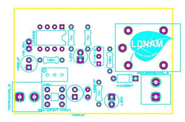 Sơ đồ bố trí linh kiện mạch bật quạt tự động theo nhiệt độ LDNam