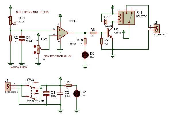 Sơ đồ nguyên lý mạch bật quạt tự động theo nhiệt độ LDNam